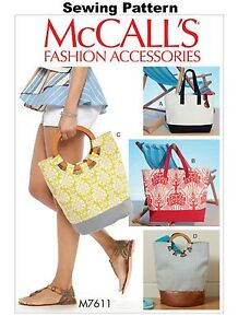 McCalls M7611 Fashion Accessories PATTERN - Tote Bags - OSZ - New