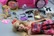 Barbie Luxury Fashionista Doll Lashes Accessories Lagerfeld Pony Car POSH SET