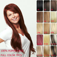 28inch 120g Full Head Clip in 100% Remy Human Hair Extensions 7pcs 11 Colors