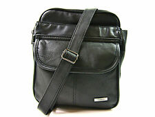 Unisex Black Leather Bag Messanger Zip Round Crossover Man Body Satchel Handbag