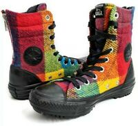 New Converse All Star Chuck Taylor High Rise Woolrich Boot Shoes Rainbow Women 5