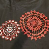 Vintage Hand Crocheted Doilies Lot of 2 Red Fine Needle Lace + Metallic Rounds