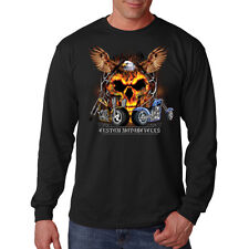 Custom Motorcycles Eagle Spirit Skull Choppers Biker Long Sleeve T-Shirt Tee