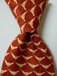 ERMENEGILDO ZEGNA Men's Silk Necktie ITALY Luxury Animal BIRDS Orange/Multi EUC