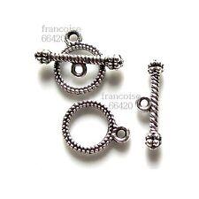 10 Fermoirs Toggle Rond argent pour collier bracelet Apprêts création bijou F053