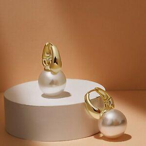 18k yellow gold gp 14mm pearl huggies dangle drop classic designer earrings