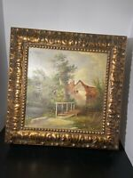 Gilded Wood Picture Framed Lrg Jewlery Box Signed Oil Painting Red Velvet Lined