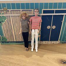 Vintage Cardboard Barbie Dream House With Midge, Ken Japan- Black Label Outfits.