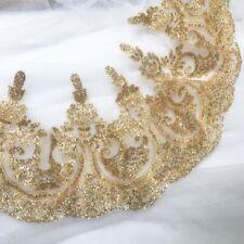 1 Yard Gold Sequins Shiny Lace Trim Wedding Dress Stage Clothes Applique Decor