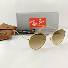 Ray-Ban Round Metal RB3447 112/51 50mm Light Brown Gradient Lens Gold Sunglasses