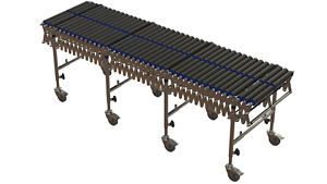 Flexible Roller Conveyor, 6.5M long extended x 600mm wide 50mm PVC Rollers