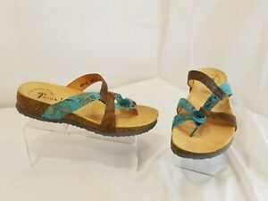 Think! Julia Tan & Turquoise Leather Toe Post Sandals Walking  Women's Size 36