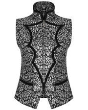 Punk Rave Mens Waistcoat Vest Black Silver Gothic Steampunk Regency Aristocrat