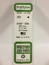 """.047"""" (1.2MM) OD White Polystyrene Rod EVG221 by Evergreen Scale Models"""