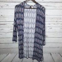 H&M Arrow Knit Open Long Sleeve Blue Cardigan Women's Size XS