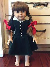 "Pleasant Company MOLLY American Girl Doll 18"" RETIRED w Velvet Christmas Dress"