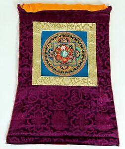 Om Mandala Thangka im Brokatrahmen handgemalt Nepal Buddhismus Nr.21 Meditation