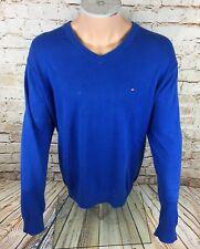 Tommy Hilfiger Suéter Azul Cuello En V Talla XL/Extra Grande para Hombre