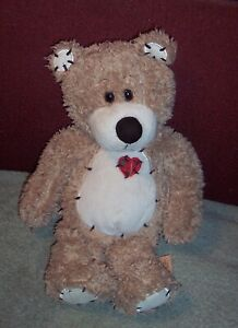 """Tender Teddy Brown Plush Bear With Patchwork Heart 12"""" First & Main Lovey  Toy"""