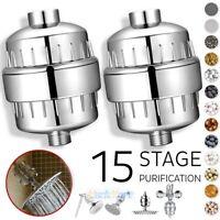 2Pack 15 Stage Shower Head Filter Water Softener Hard Water Chlorine Purifier US