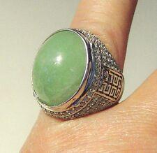 Silver 925 Jadeite ring, light green, good lustre, impressive size jade,$199.00