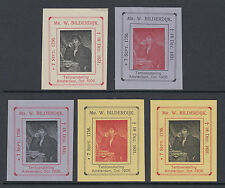 1906 Amsterdam lot of 5 x exhibition stamps of poet - Willem Bilderdijk