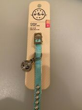 "Bond & Co Small Dogs Faux Pearl Blue Bling w/Medallion Collar - Necks 10"" - 12"""