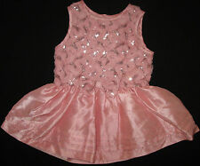 Baby Girls Dress Pink Short Sleeves Sequins Tulle Ruffle Victoria Rose 1 NEW
