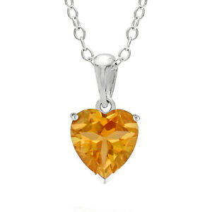 .70 CT Heart 6MM Natural Yellow Citrine White Topaz Sterling Silver Pendant
