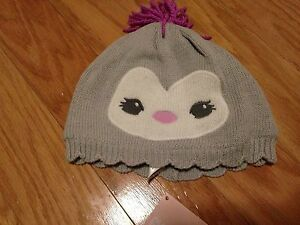 NWT Gymboree Polar Princess Sweater Penguin Face Hat Gray Purple 12 18 Months