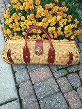 Huge Wicker Basket Purse Bag Leather Trim
