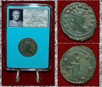 Roman Empire Coin GALLIENUS Pax Holding Branch On Reverse Antoninianus