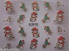 Christmas 3D Nail Art Stickers Decals Gold Snowflakes Snowman Gel Polish (xj15G)