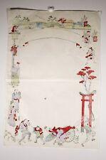 Estampe japonaise signée, XX° siècle, Affichette scènes animées avec personnage