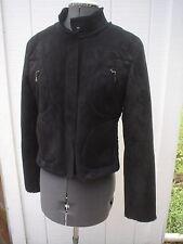 "Arayel France Soft Black Faux Shearling Zip Front Moto Style Jacket M Bust 36"""