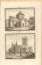 1803 LARGE ARCHITECTURE PRINT ~ OZLEWORTH & CLEVE CHURCH GLOUCESTERSHIRE