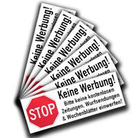 Bitte Keine Werbung Aufkleber (6 Stück) Schild Briefkasten Aufkleber