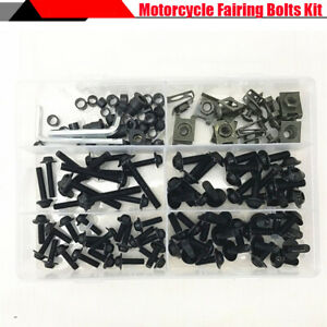 177Pcs Motorcycle Fairing Bumpers Bolts Fastener Clips Screw Washers Kit w/ Box