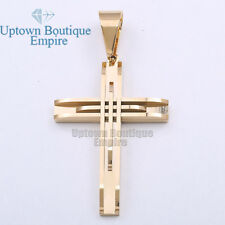 02 MEN Stainless Steel classic Solid Gold Silver Black Cross Pendant& Free Chain