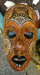 Large stunning Wall face mask wood & mother of pearl 13 ins height New Zealand