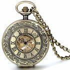 Vintage Bronze Mechanical Hand-wind Pocket Watch Hollow Steampunk with Chain