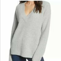 Chelsea 28 NWT Sz XXL 2XL Chunky Ribbed Knit V-Neck Sweater Gray Pullover Womens