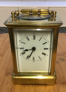 Antique Solid Brass Chiming Striking Carriage Clock Full Working Order