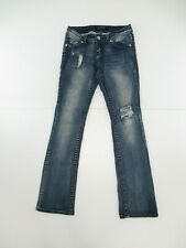 PREMIERE by RULE 21 Women's Distressed Slim Boot Jeans Tag Size 1/2 R #B570