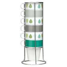 Set Of 6 Green Leaves 300ml Stackable Mugs With Chrome Stand Tea Coffee Latte