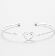 Lady Women 925 Sterling Silver Twisted Knot Love Heart Bangle Bracelet  50x60mm