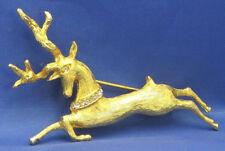 Denicola Reindeer Rhinestone Brooch Goldtone Christmas Holiday Pin De Nicola