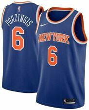 Nike Mens New York Knicks Kristaps Porzingis #6 Blue Authentic Jersey 863032 495