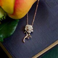 1/10ct. tw. Diamond Belle Rose Flower Pendant In 14K Rose Gold Fn