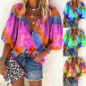 Women's Loose Tie-dye Print V-Neck Blouse Long Sleeve Buttons Shirt Fashion Tops